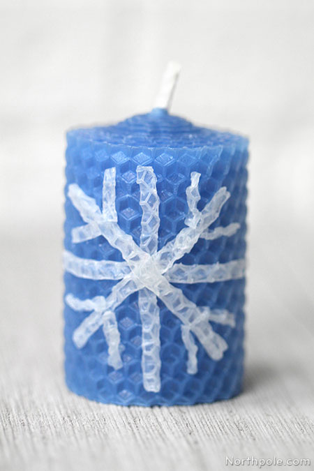 Surprisingly Simple Embellished Beeswax Candles: Simple Snowflake