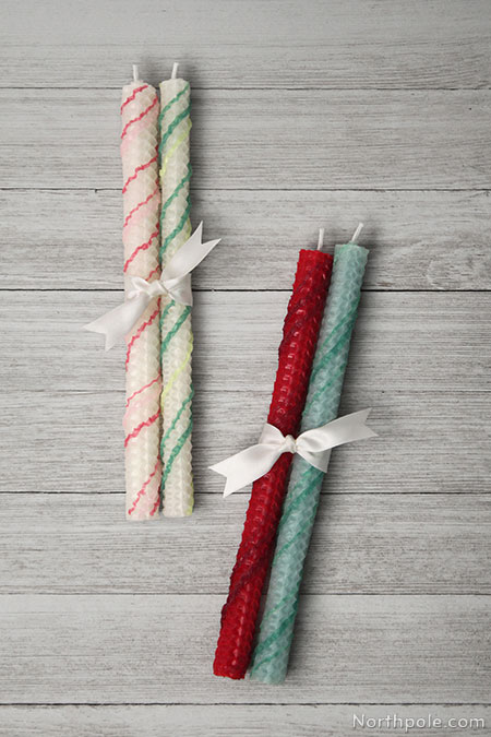 Surprisingly Simple Embellished Beeswax Candles: Festive Striped Candles
